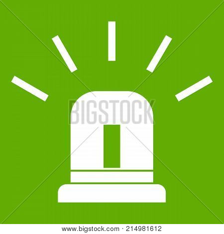 Blue special police flasher icon white isolated on green background. Vector illustration