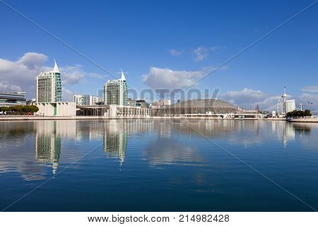 Lisbon, Portugal - February 01, 2017: Olivais Dock in Parque das Nacoes aka Nations Park. View of Pavilion of Portugal. Atlantico Arena aka Meo Altice. Sao Gabriel / Sao Rafael Towers