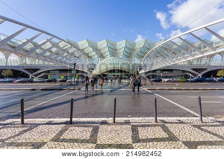 Lisbon, Portugal - February 01, 2017: Gare do Oriente (Orient Station), a public transport hub. Designed by Santiago Calatrava in neo-gothic style.