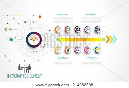 Infographic template timeline technology hi-tech digital and engineering telecoms can be used for your businessbook cover layout template bannerdiagram Infographic presentation Vector illustration