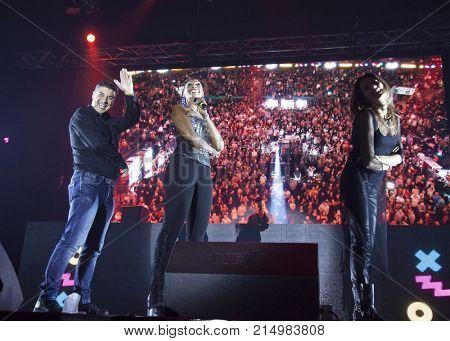 Cluj-Napoca, Romania - November 16, 2017: Corona, an Italian eurodance act, fronted by Olga Maria De Souza performing on stage at We Love Retro Party, Cluj-Napoca, Romania