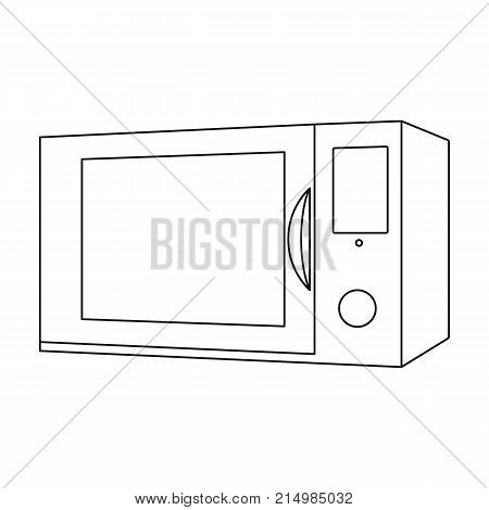 Microwave, single icon in outline style.Microwave, vector symbol stock illustration . poster