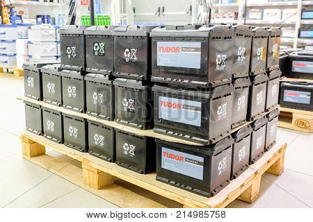 Klimovsk, Moscow region, Russsia - October, 16, 2017: batteries in the car components shop in Klimovsk, Russia