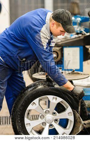 Klimovsk, Moscow region, Russia - November, 17, 2017: Tyre repair working shop