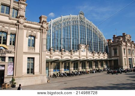 BARCELONA, SPAIN - NOVEMBER 1, 2017: Exterior of the Estacio del Nord. Originally opened as a railway station in 1862 and closed in 1972 it is now a bus station, police station and sports arena.