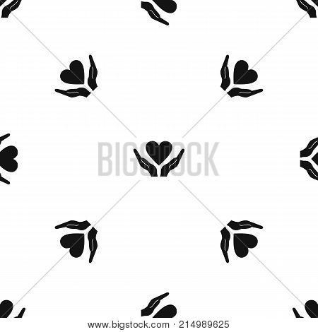 Hands holding heart pattern repeat seamless in black color for any design. Vector geometric illustration