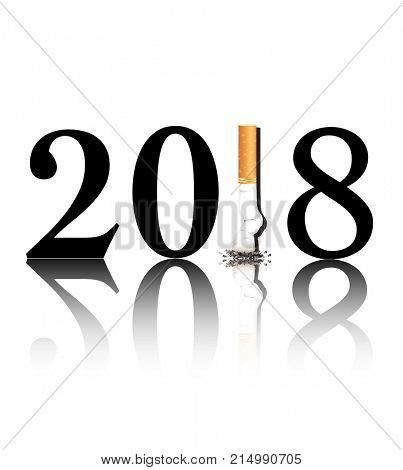 New Year's resolution Quit Smoking concept with the 1 in 2018 being replaced by a stubbed out cigarette.