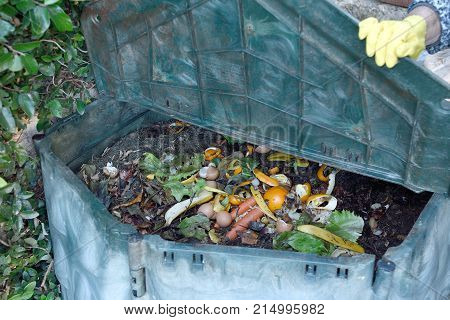 Detal of the inside of a composting container