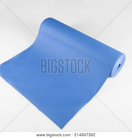 Roll Of Bue Colored Wrapping Foil Isolated On White Background