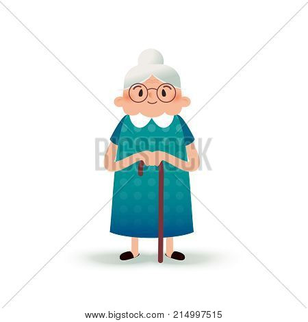 Cartoon happy grandmother with a cane. Old woman with glasses. Flat illustration on white background. Funny granny