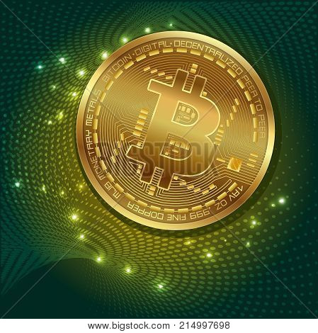Bitcoin. Physical bit coin. Digital currency. Crypto currency symbol and coin image for using in web projects or mobile applications. Stock vector illustration.