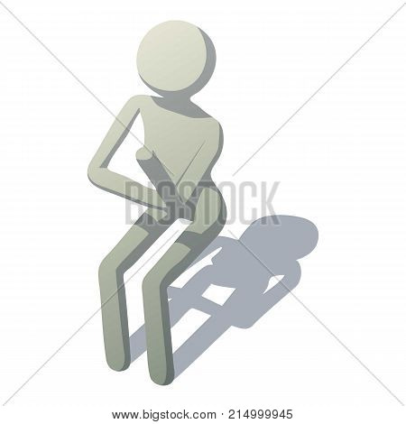 Stick man is pupil icon. Isometric illustration of stick man is pupil vector icon for web