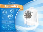 Dirty white shirt with close-up of fiber structure and soap bubbles on blue background, vector realistic banner . Mockup package design laundry detergent ad poster