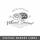 Bakery label isolated on white background. Design element. Template for logo signage branding design. Vector illustration poster