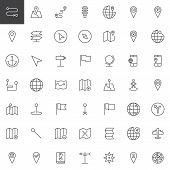 Map pointer, gps marker line icons set, outline vector symbol collection, linear style pictogram pack. Signs, logo illustration. Set includes icons as location, placeholder, route, navigation, pin poster