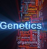 Background concept wordcloud illustration of genetics dna genes glowing light poster