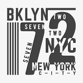 T-shirt print design. Bklyn 72 New York City vintage stamp. Printing and badge, applique, label, t shirts, jeans, casual and urban wear. Vector illustration. poster