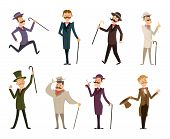 Set of english victorian gentlemen. Characters in dynamic poses. Collection of gentlemen in suit clothing, gentleman english gallant aristocrat. Vector illustration poster