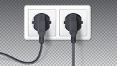 Electric plugs and socket. Realistic black plugs inserted in white electrical outlet, isolated on transparent. Vector 3D illustration, icon of device for connecting electrical appliances poster