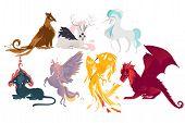 Set of mythical, mythological creates, animals - unicorn, jackalope, phoenix, pegasus, cerberus, griffon, dragon, flat cartoon vector illustration isolated on white background. Set of mythical animals poster