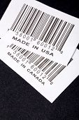 Made in Canada or USA and barcode business concept poster