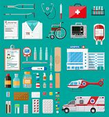 Medicine pills capsules, bottles and healthcare devices. Ambulance car and helicopter, hospital building. Healthcare, medical diagnostics. Urgency emergency services. Vector illustration in flat style poster