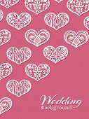 White lacy hearts on pink - romance wedding background. Vector illustration poster