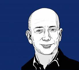 Nov, 2016: The famous entrepreneur, founder and the richest man Jeff Bezos vector portrait on a blue background.