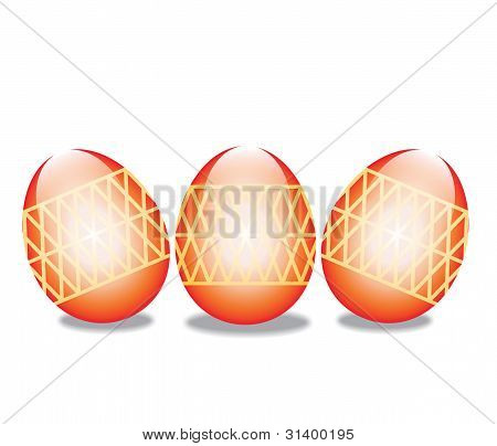 Three Easter Eggs Isolated On White Background