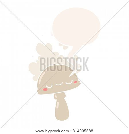 cartoon mushroom with spoor cloud with speech bubble in retro style