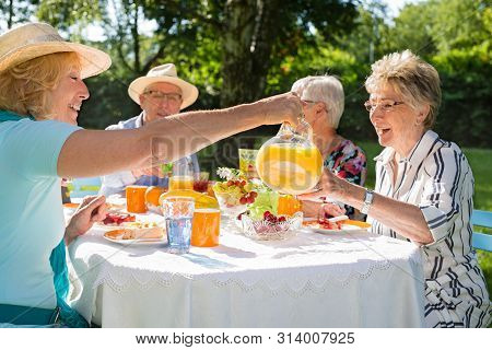 Happy Group Of Senior Friends Are Picnicking In Park.