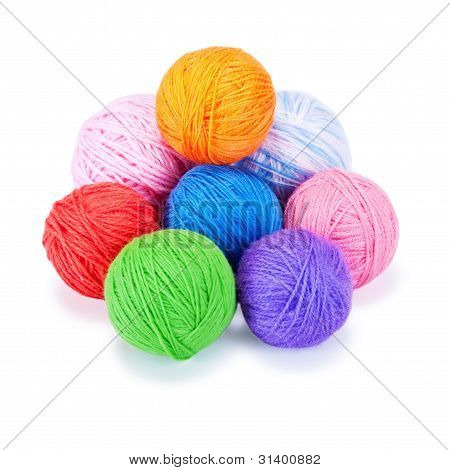Several Multi-colored Woolen Balls