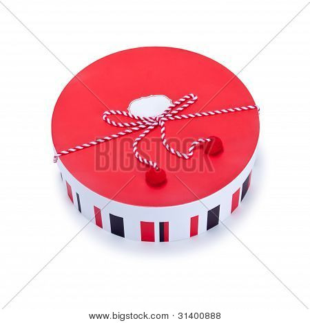 Round Red And White Gift Box