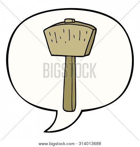 cartoon mallet with speech bubble
