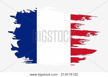 France Flag. Brush Painted France Flag. Hand Drawn Style Illustration With A Grunge Effect And Water