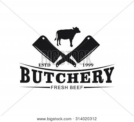Butcher Meat Shop Product Logo With Crossed Cleaver And Cow Silhouette