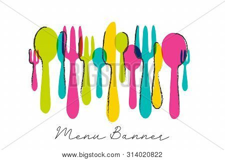 Modern Cutlery Menu Banner Design With Colorful Knife, Spoon And Fork. Food Symbol