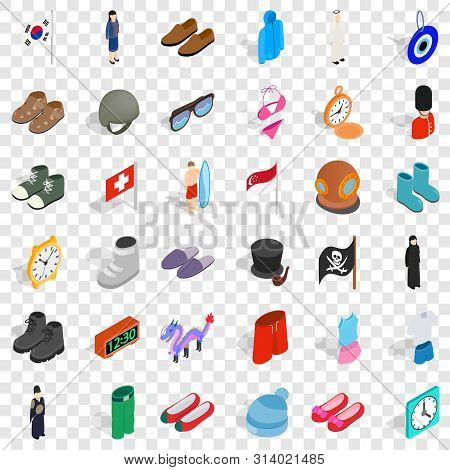 Vogue Icons Set. Isometric Style Of 36 Vogue Vector Icons For Web For Any Design