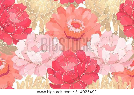 Vector Floral Pattern. Pink And White Garden Flowers With Beige Leaves Isolated On White Background.