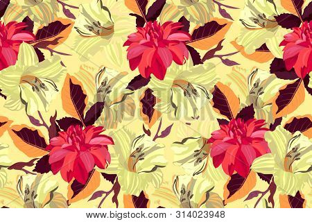 Art Floral Vector Seamless Pattern. Red Dahlias And Yellow Lilies With Orange And Brown Leaves Isola