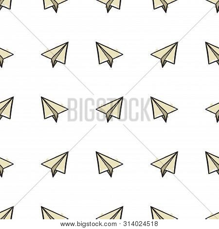 Seamless Pattern With Paper Airplanes In Doodle, Hand Drawing Style In Color Vector Illustration