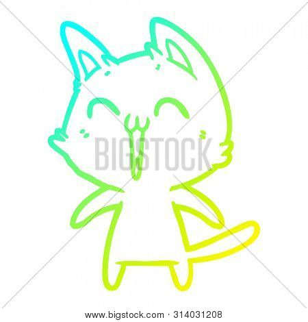 cold gradient line drawing of a happy cartoon cat meowing poster