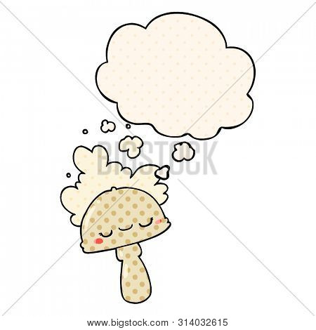 cartoon mushroom with spoor cloud with thought bubble in comic book style