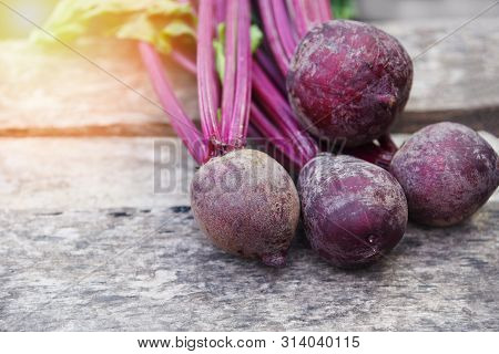 Organic Beetroot Vegetable / Fresh Red Beet Roots Harvested On Wooden Background