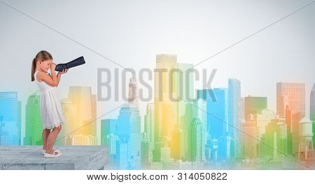 Kid looking through spyglass from the top of a building to a big colorful city
