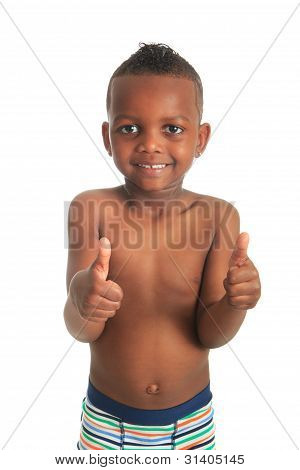 African American Child Shirtless Black Curly Hair Isolated