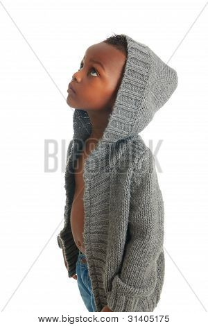 African American Child Beautiful Black Curly Hair Isolated