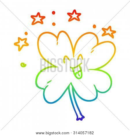 rainbow gradient line drawing of a happy cartoon four leaf clover