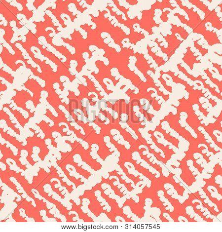 Pink And White Tie Dye Seamless Pattern.  Shibori Seamless Print. Watercolor Hand Drawn Batik.  Hand