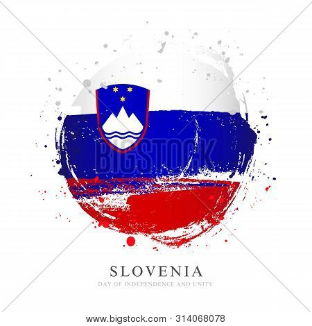 Slovenian Flag In The Form Of A Large Circle. Vector Illustration On White Background. Brush Strokes